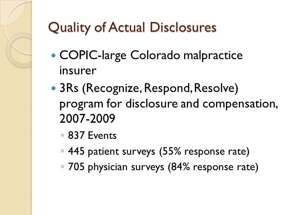 Quality of Actual Disclosures COPIC-large Colorado malpractice insurer 3Rs (Recognize, Respond, Resolve) program for disclosure and compensation, 2007-2009 ◦ 837 Events ◦ 445 patient surveys (55% response rate) ◦ 705 physician surveys (84% response rate)