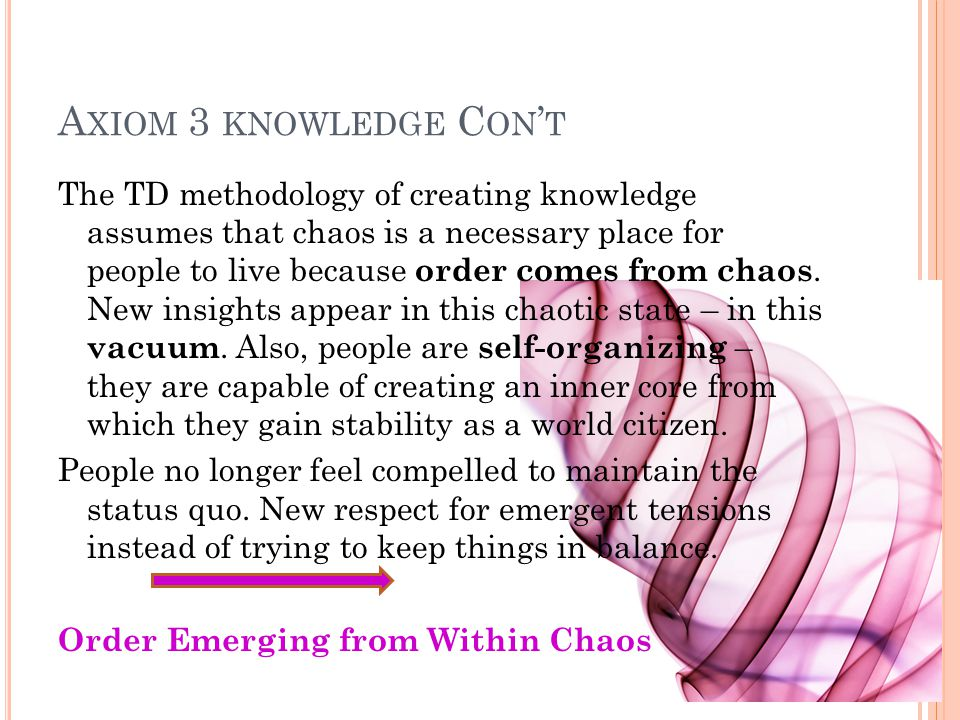 A XIOM 3 KNOWLEDGE C ON ' T The TD methodology of creating knowledge assumes that chaos is a necessary place for people to live because order comes from chaos.