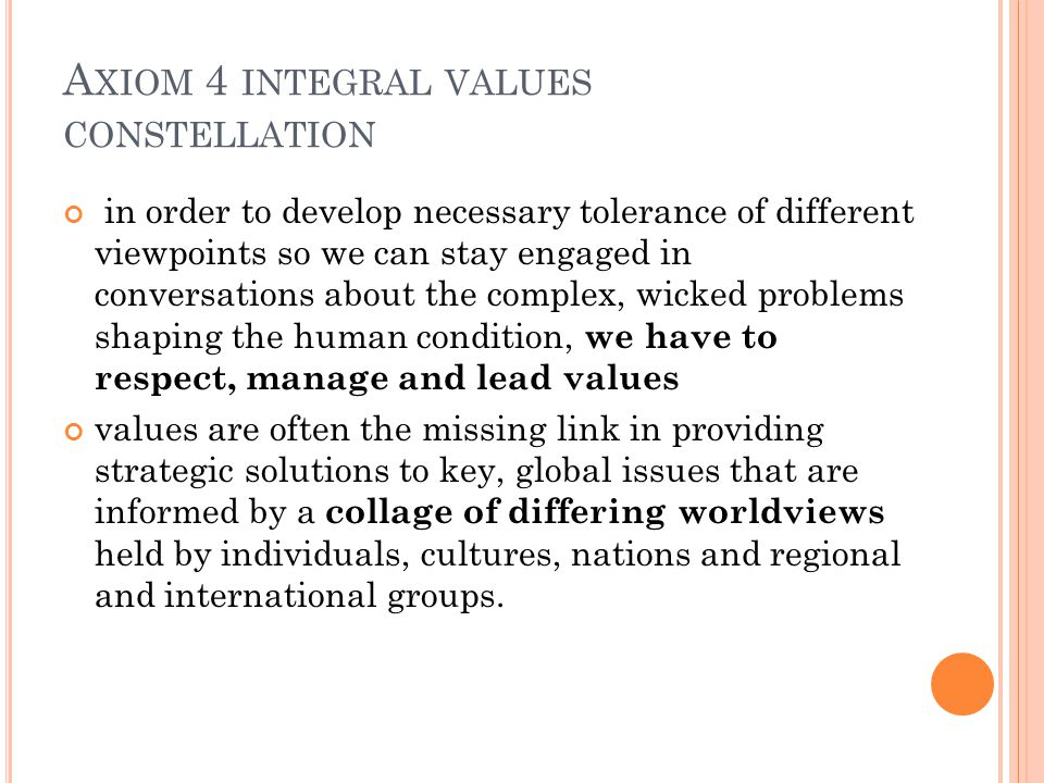 A XIOM 4 INTEGRAL VALUES CONSTELLATION in order to develop necessary tolerance of different viewpoints so we can stay engaged in conversations about the complex, wicked problems shaping the human condition, we have to respect, manage and lead values values are often the missing link in providing strategic solutions to key, global issues that are informed by a collage of differing worldviews held by individuals, cultures, nations and regional and international groups.
