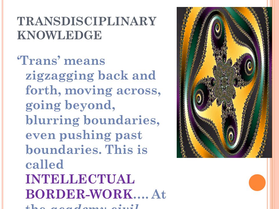 TRANSDISCIPLINARY KNOWLEDGE 'Trans' means zigzagging back and forth, moving across, going beyond, blurring boundaries, even pushing past boundaries.