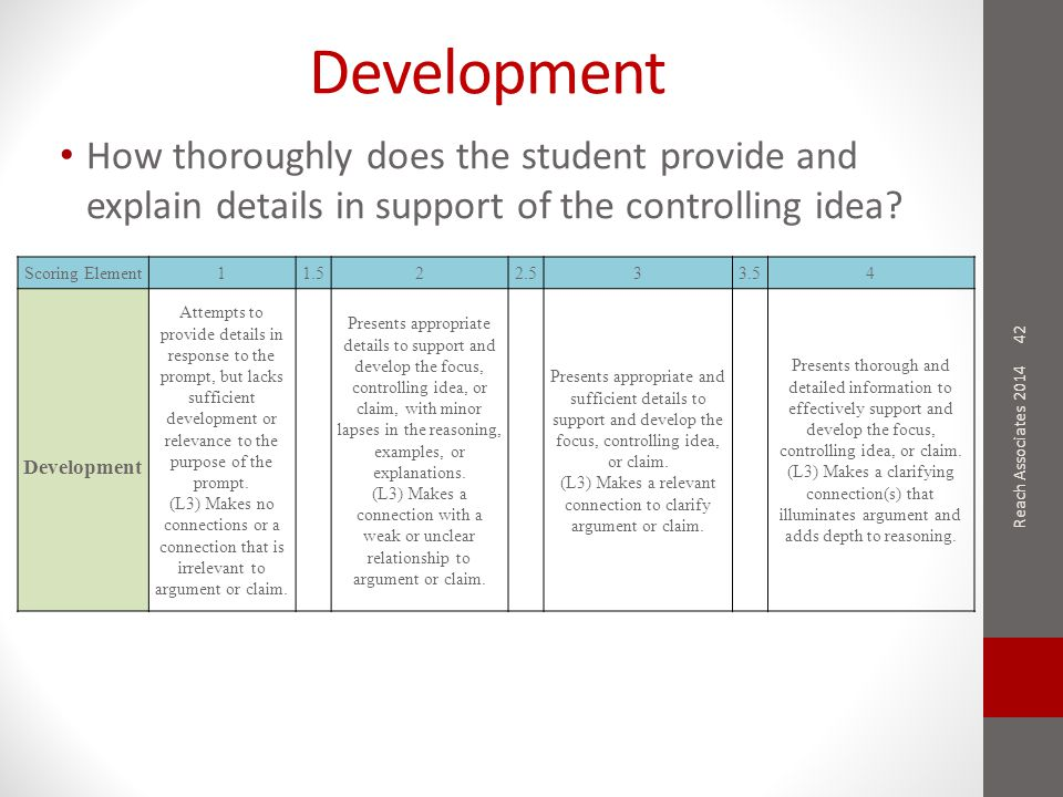 Development How thoroughly does the student provide and explain details in support of the controlling idea.
