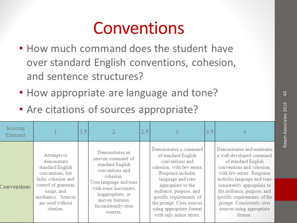 Conventions How much command does the student have over standard English conventions, cohesion, and sentence structures? How appropriate are language