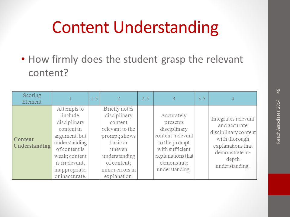 Content Understanding How firmly does the student grasp the relevant content.