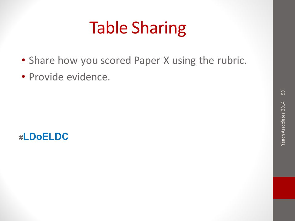 Table Sharing Share how you scored Paper X using the rubric. Provide evidence. 53 Reach Associates 2014 # LDoELDC