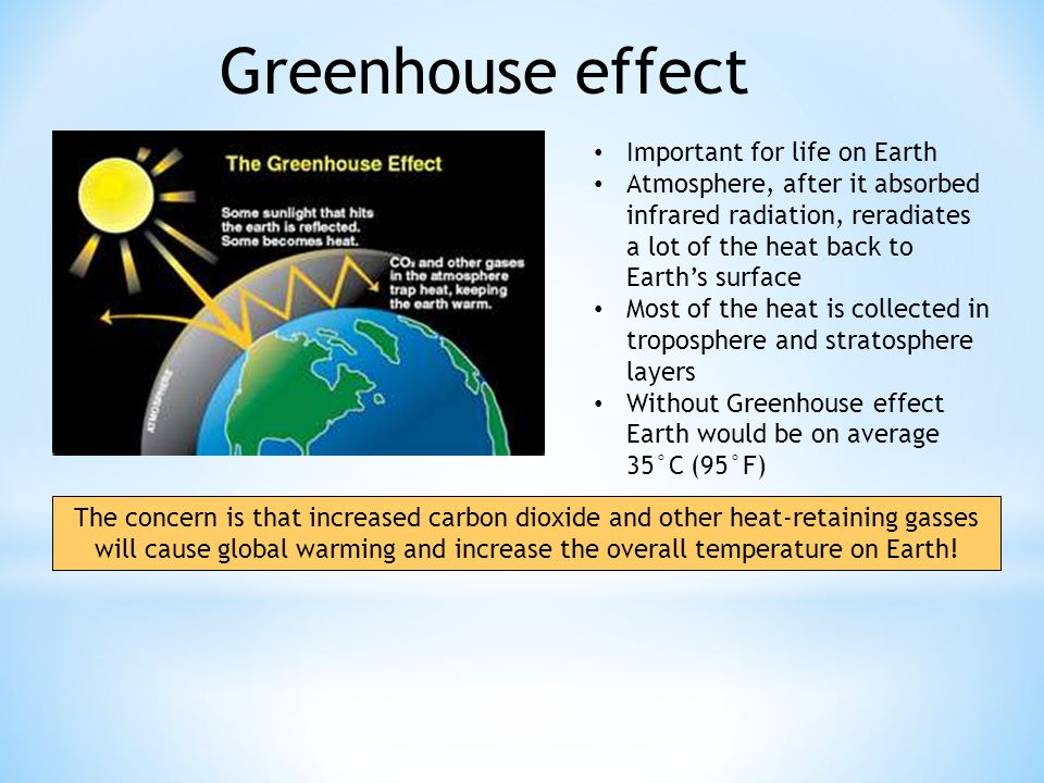 Greenhouse effect Important for life on Earth Atmosphere, after it absorbed infrared radiation, reradiates a lot of the heat back to Earth's surface Most of the heat is collected in troposphere and stratosphere layers Without Greenhouse effect Earth would be on average 35°C (95°F) The concern is that increased carbon dioxide and other heat-retaining gasses will cause global warming and increase the overall temperature on Earth!