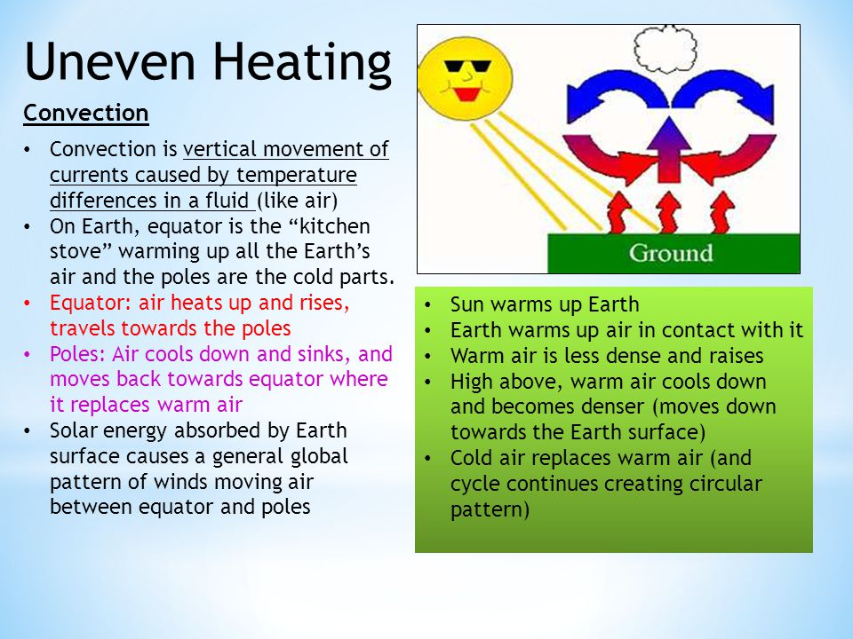 Uneven Heating Convection Convection is vertical movement of currents caused by temperature differences in a fluid (like air) On Earth, equator is the kitchen stove warming up all the Earth's air and the poles are the cold parts.