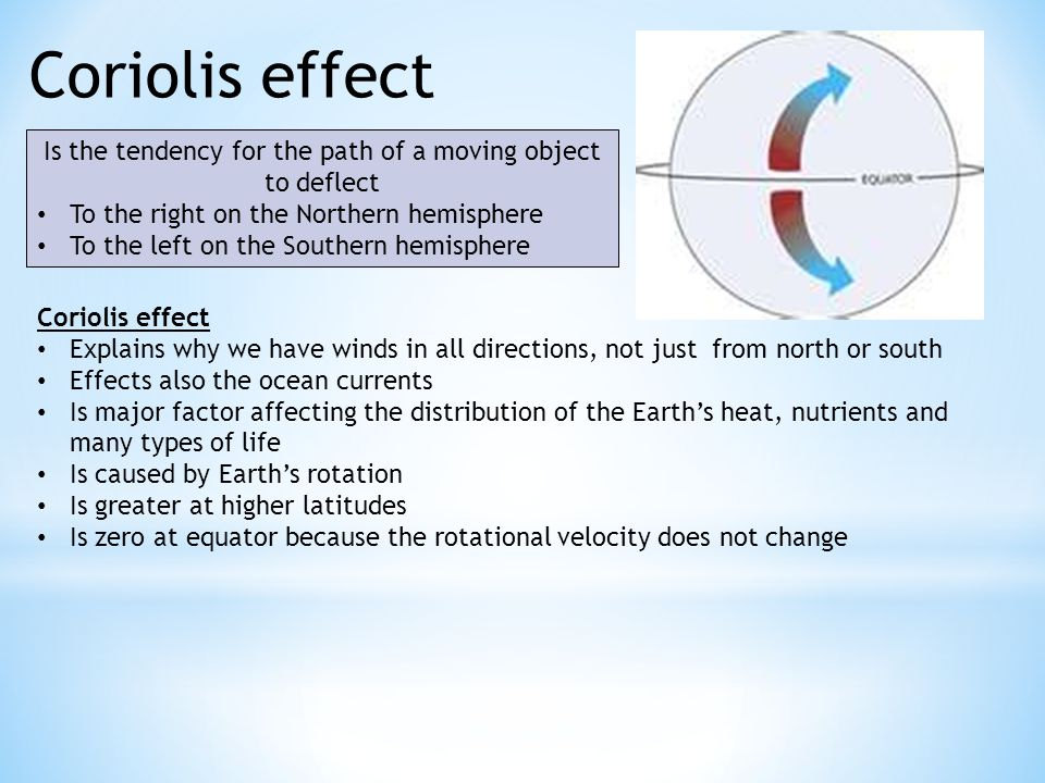 Coriolis effect Is the tendency for the path of a moving object to deflect To the right on the Northern hemisphere To the left on the Southern hemisphere Coriolis effect Explains why we have winds in all directions, not just from north or south Effects also the ocean currents Is major factor affecting the distribution of the Earth's heat, nutrients and many types of life Is caused by Earth's rotation Is greater at higher latitudes Is zero at equator because the rotational velocity does not change