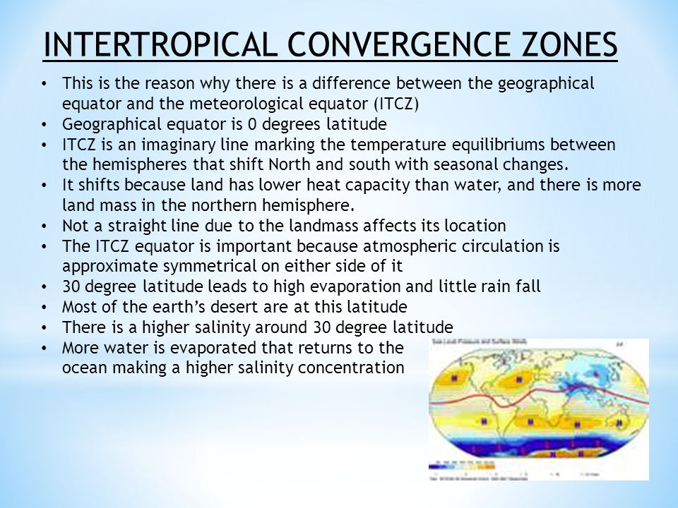 INTERTROPICAL CONVERGENCE ZONES This is the reason why there is a difference between the geographical equator and the meteorological equator (ITCZ) Geographical equator is 0 degrees latitude ITCZ is an imaginary line marking the temperature equilibriums between the hemispheres that shift North and south with seasonal changes.