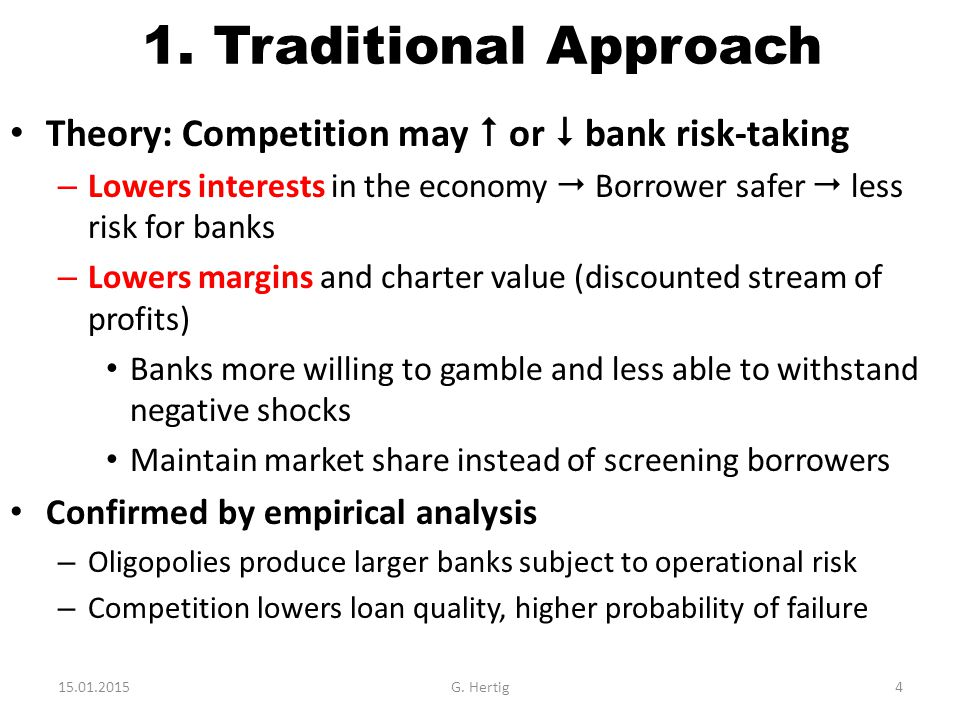 Policy Implications Link Competition – Risk Taking – Stability – Theory and data ambiguous – Monopolistic  +  competition  -  Destabilization Intermediate degree seems optimal – No excessive restriction to bank activity, no unbridled competition – Lowers costs, increases access to finance Good for industrial firms Good for households – Not perfect due to information issue Information sensitive borrower may be disadvantaged Restriction of credit in downturns 15.01.2015G.