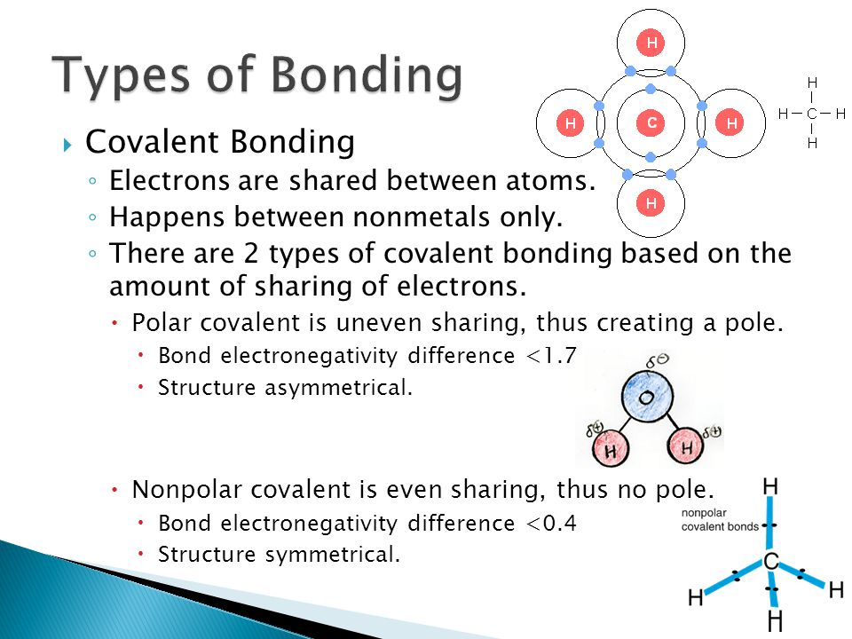  Covalent Bonding ◦ Electrons are shared between atoms.