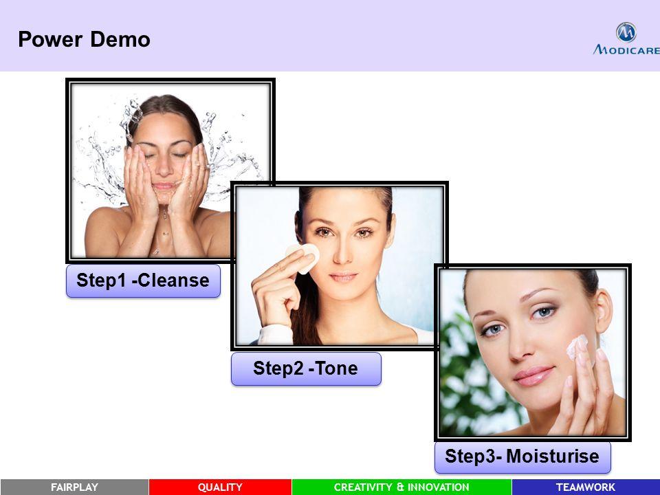 FAIRPLAYQUALITYCREATIVITY & INNOVATIONTEAMWORK Step1 -Cleanse Step3- Moisturise Step2 -Tone Power Demo