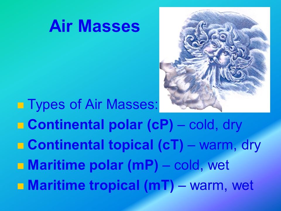 Air Masses Types of Air Masses: Continental polar (cP) – cold, dry Continental topical (cT) – warm, dry Maritime polar (mP) – cold, wet Maritime tropical (mT) – warm, wet