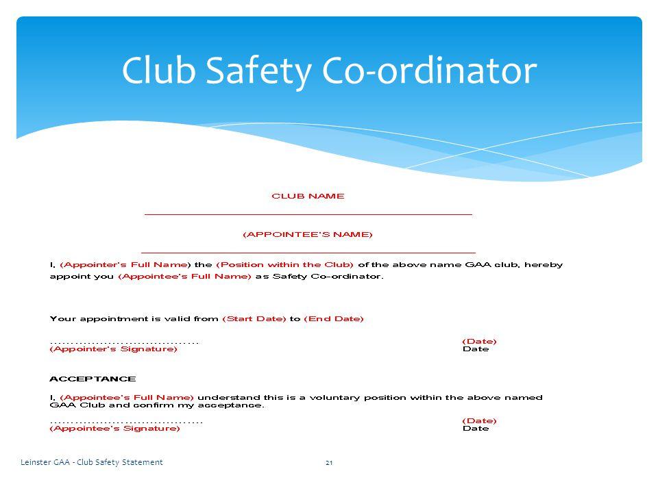 Leinster GAA - Club Safety Statement21 Club Safety Co-ordinator