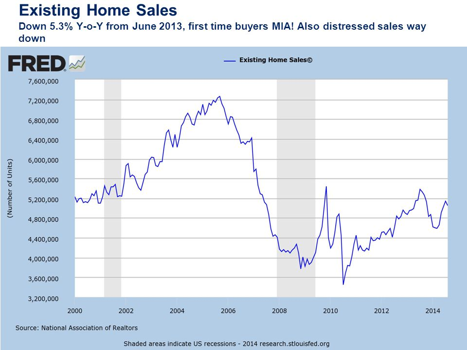Existing Home Sales Down 5.3% Y-o-Y from June 2013, first time buyers MIA.