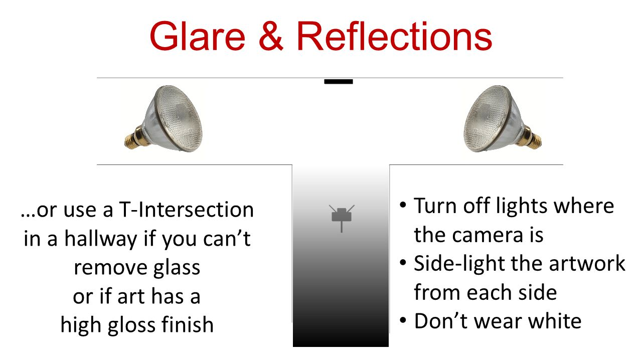 …or use a T-Intersection in a hallway if you can't remove glass or if art has a high gloss finish Turn off lights where the camera is Side-light the artwork from each side Don't wear white Glare & Reflections