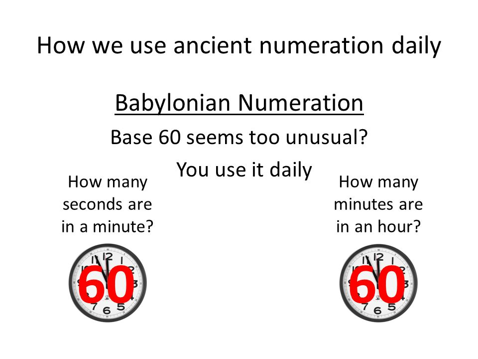 How we use ancient numeration daily Babylonian Numeration Base 60 Example (In cuneiform script)