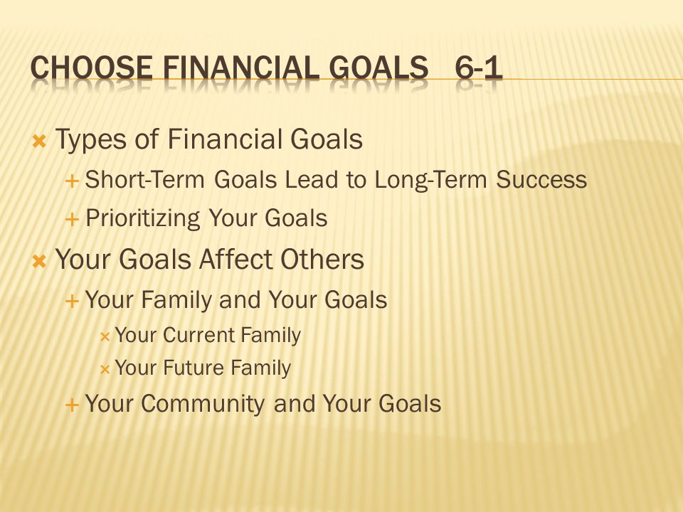  Types of Financial Goals  Short-Term Goals Lead to Long-Term Success  Prioritizing Your Goals  Your Goals Affect Others  Your Family and Your Goals  Your Current Family  Your Future Family  Your Community and Your Goals