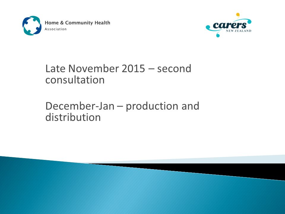 Late November 2015 – second consultation December-Jan – production and distribution