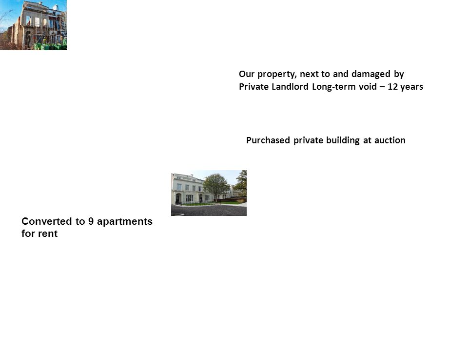 Our property, next to and damaged by Private Landlord Long-term void – 12 years Purchased private building at auction Converted to 9 apartments for rent