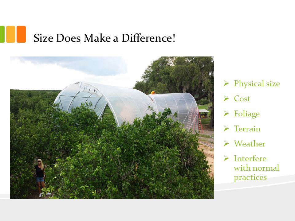 Treating Large Acres of Large Trees Challenge Uneven Heating Excessive Heat Pulling Down the Row Moving Row-to-Row Uneven Terrain Interference w/ Daily Grove Operations Solution Circulation Fans Thermostatically Controlled Vent V-Ditch Track Linked 2 Tree Modules Flexible Connection Joints Efficient Strings 1/8 Mile Long