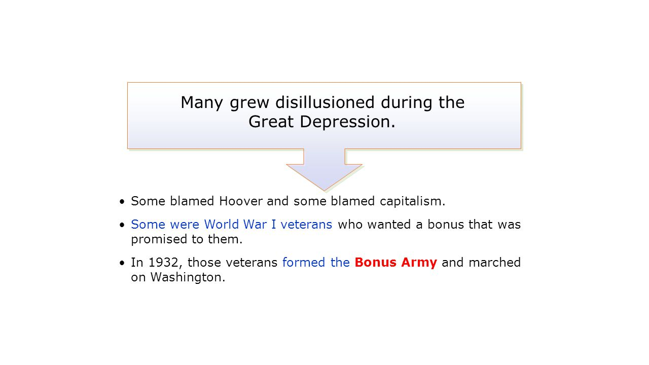 Some blamed Hoover and some blamed capitalism. Some were World War I veterans who wanted a bonus that was promised to them. In 1932, those veterans fo