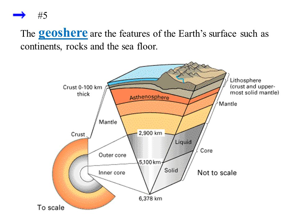 The geoshere are the features of the Earth's surface such as continents, rocks and the sea floor. #5