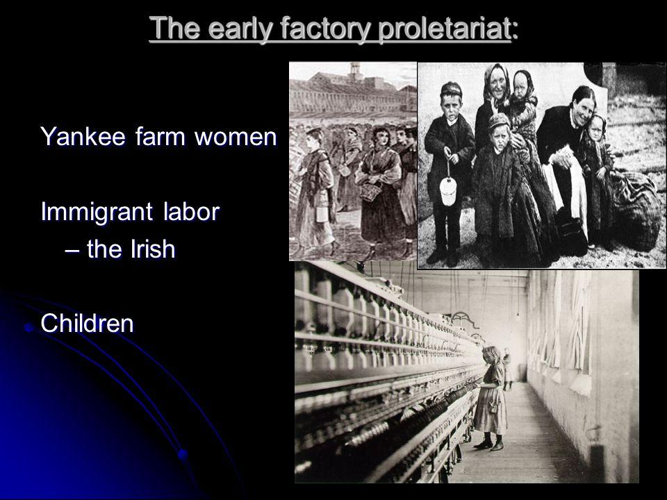 The early factory proletariat: Yankee farm women Immigrant labor – the Irish Children