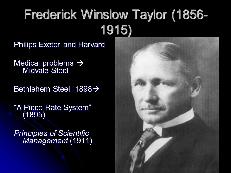 Frederick Winslow Taylor (1856- 1915) Philips Exeter and Harvard Medical problems  Midvale Steel Bethlehem Steel, 1898  A Piece Rate System (1895) Principles of Scientific Management (1911)