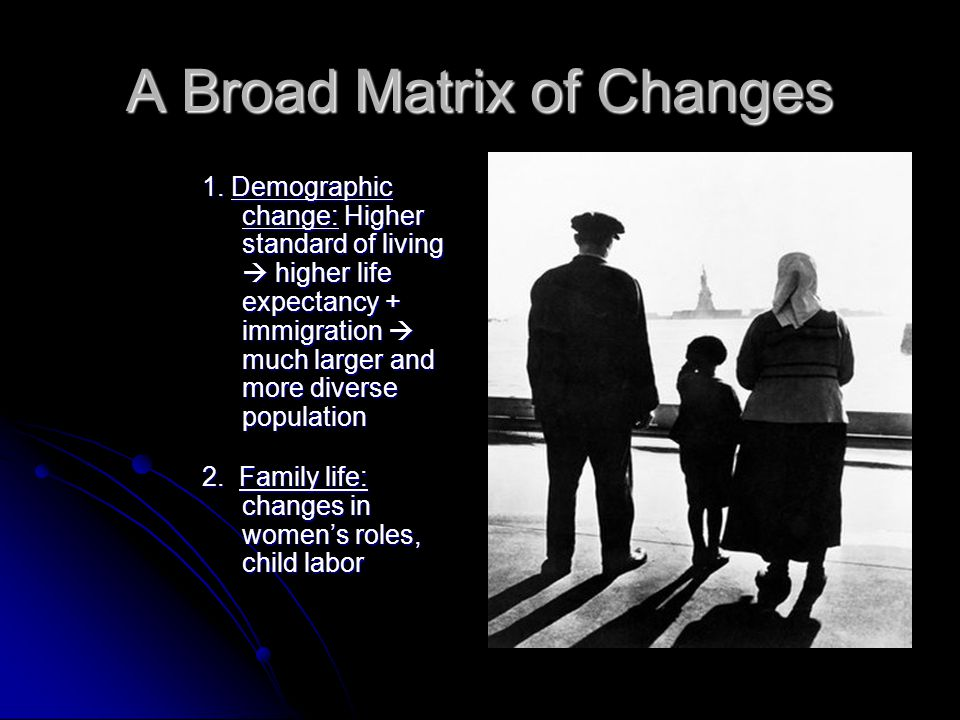 A Broad Matrix of Changes 1. Demographic change: Higher standard of living  higher life expectancy + immigration  much larger and more diverse popul