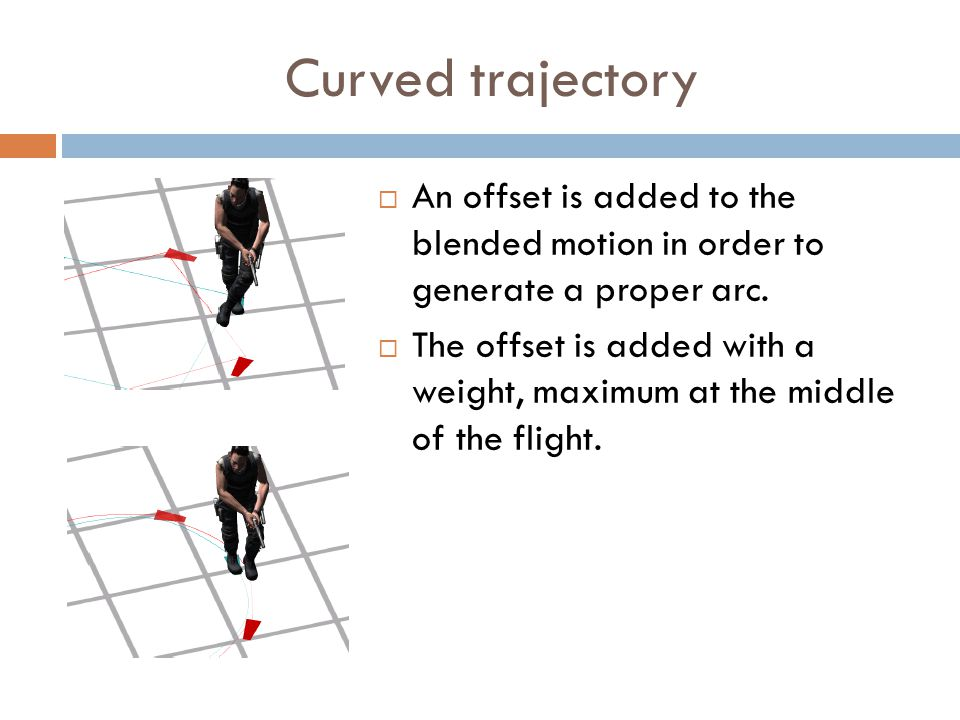 Curved trajectory  An offset is added to the blended motion in order to generate a proper arc.