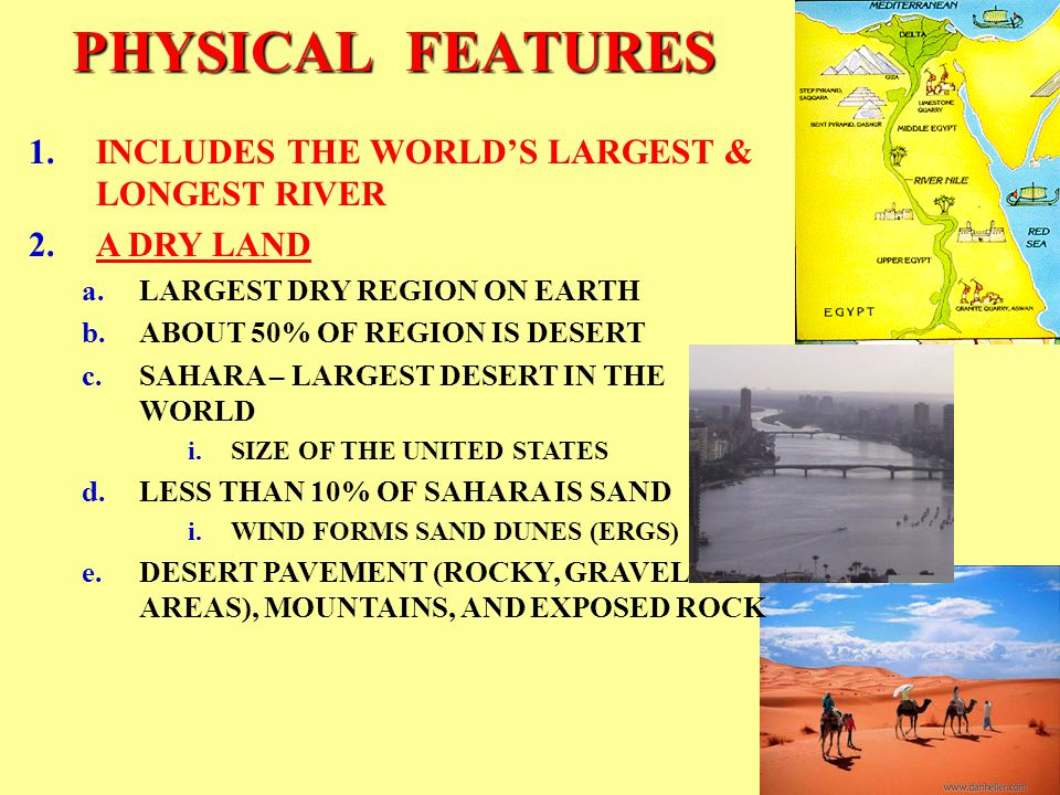PHYSICAL FEATURES LANDFORMS SAHARA DESERT SIANI PENINSULA ARABIAN PENINSULA ATLAS MOUNTAINS TAURUS MOUNTAINS ZAGROS MOUNTAINS ANATOLIAN PLATEAU PLATEAU OF IRAN BODIES OF WATER ATLANTIC OCEAN ARABIAN SEA MEDITERRANEAN SEA BLACK SEA CASPIAN SEA RED SEA PERSIAN GULF GULF OF ADEN GULF OF OMAN NILE RIVER TIGRIS RIVER EUPHRATES RIVER SUEZ CANAL