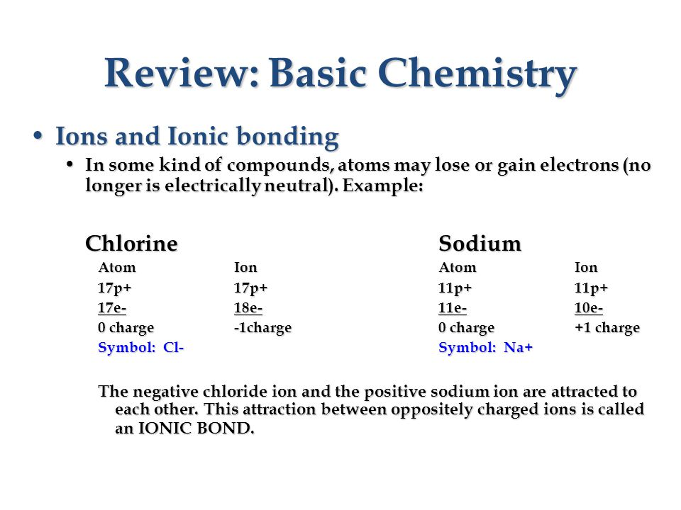 Review: Basic Chemistry Ions and Ionic bonding Ions and Ionic bonding In some kind of compounds, atoms may lose or gain electrons (no longer is electrically neutral).