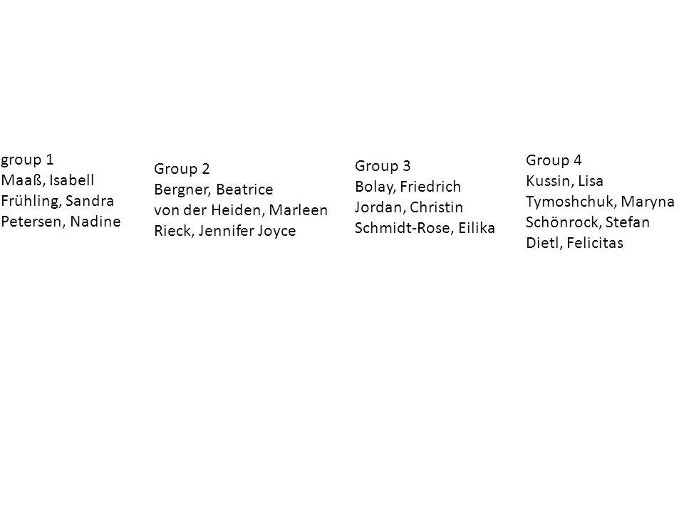 Group 4 Kussin, Lisa Tymoshchuk, Maryna Schönrock, Stefan Dietl, Felicitas group 1 Maaß, Isabell Frühling, Sandra Petersen, Nadine Group 2 Bergner, Beatrice von der Heiden, Marleen Rieck, Jennifer Joyce Group 3 Bolay, Friedrich Jordan, Christin Schmidt-Rose, Eilika
