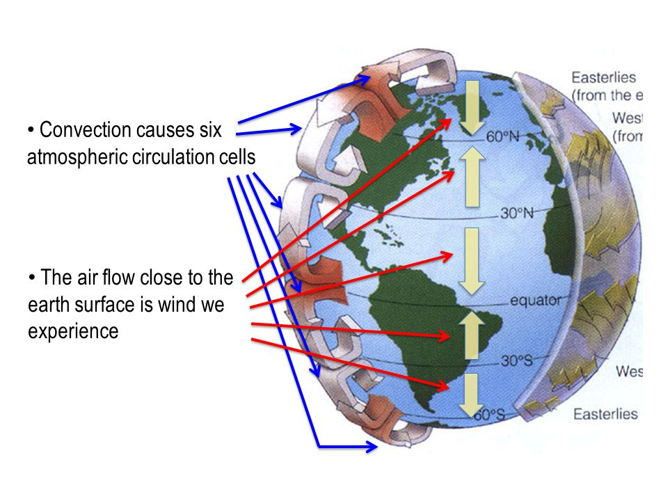 Convection causes six atmospheric circulation cells The air flow close to the earth surface is wind we experience