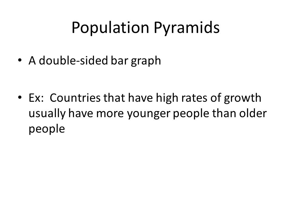 Population Pyramids A double-sided bar graph Ex: Countries that have high rates of growth usually have more younger people than older people