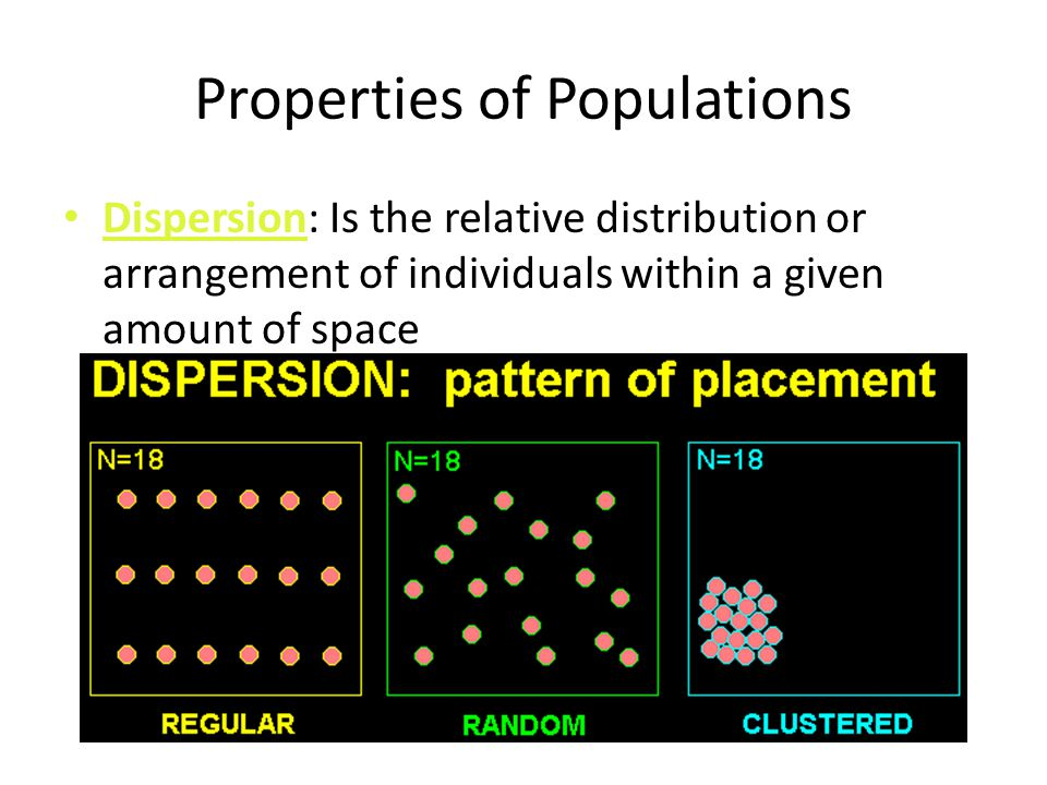 Properties of Populations Dispersion: Is the relative distribution or arrangement of individuals within a given amount of space