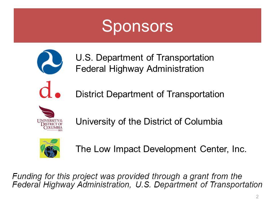 Sponsors 2 District Department of Transportation U.S.