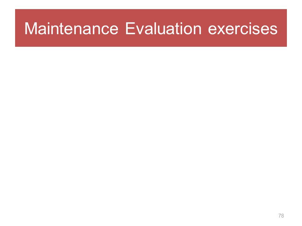 Maintenance Evaluation exercises 78
