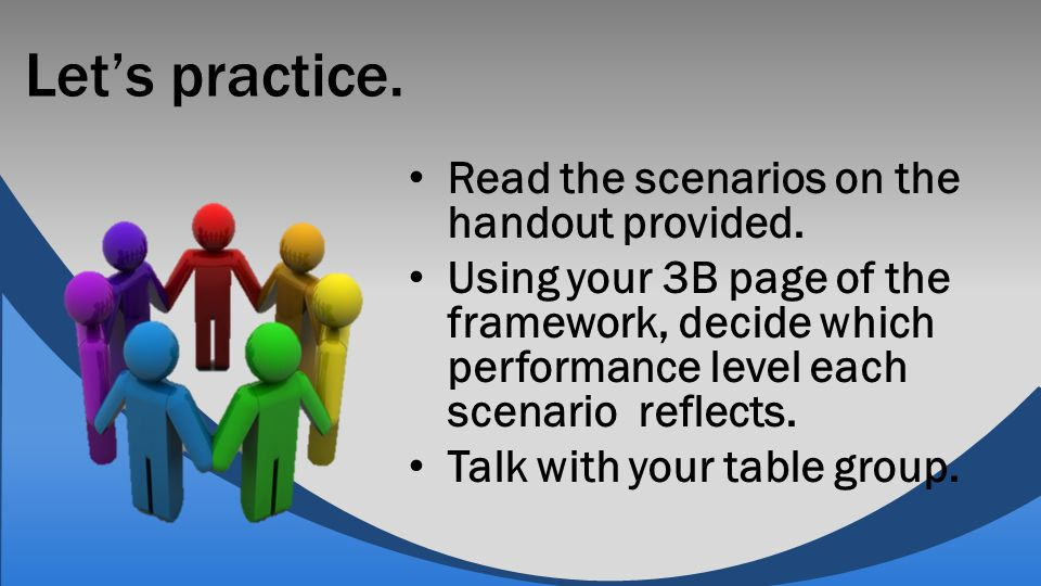 Let's practice. Read the scenarios on the handout provided. Using your 3B page of the framework, decide which performance level each scenario reflects
