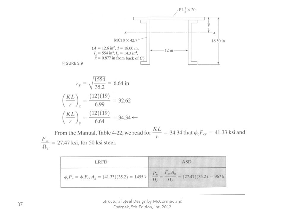 Structural Steel Design by McCormac and Csernak, 5th Edition, Int. 2012 37