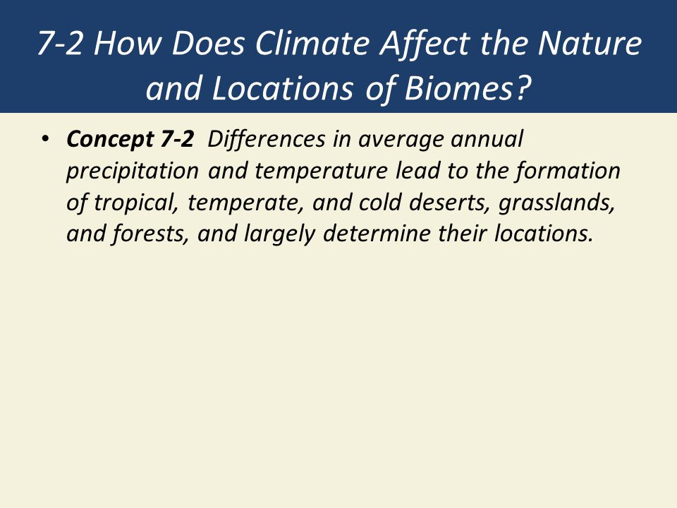 7-2 How Does Climate Affect the Nature and Locations of Biomes? Concept 7-2 Differences in average annual precipitation and temperature lead to the fo