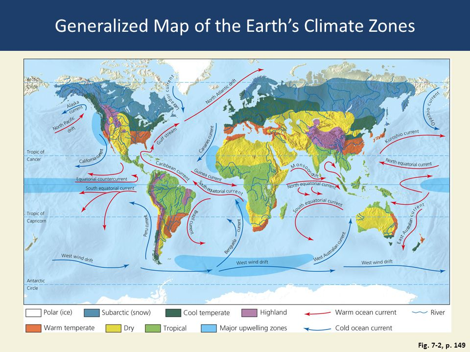 Fig. 7-2, p. 149 Generalized Map of the Earth's Climate Zones