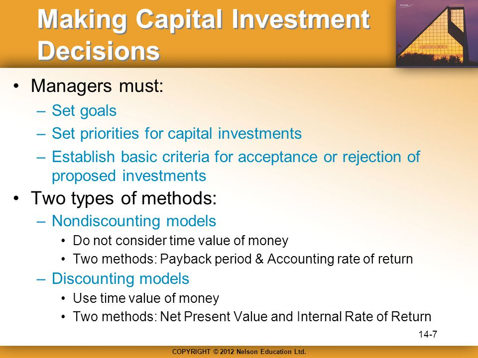 COPYRIGHT © 2012 Nelson Education Ltd. Making Capital Investment Decisions Managers must: –Set goals –Set priorities for capital investments –Establis