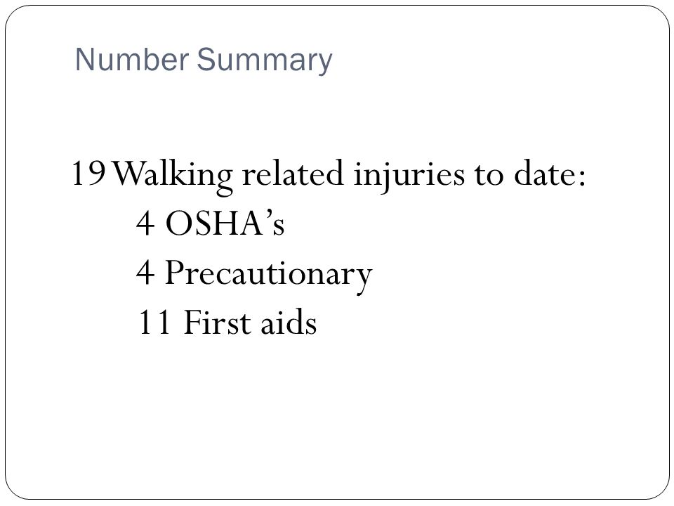 Incident Summary – 4 OSHA's: January Slip on wet floor – Fracture February Stepping from ladder cage, rolled ankle - Sprain April Walking from one area to another, stepped in dip – Fracture May Tripped over parking block – Abrasion