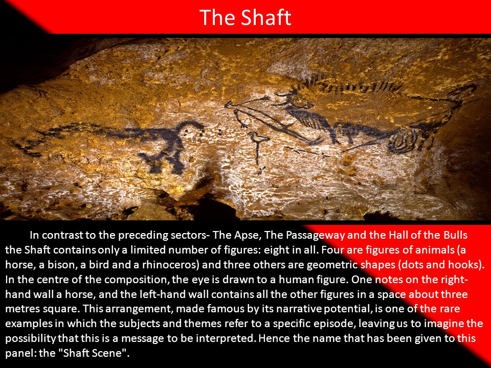 The Shaft In contrast to the preceding sectors- The Apse, The Passageway and the Hall of the Bulls the Shaft contains only a limited number of figures: eight in all.