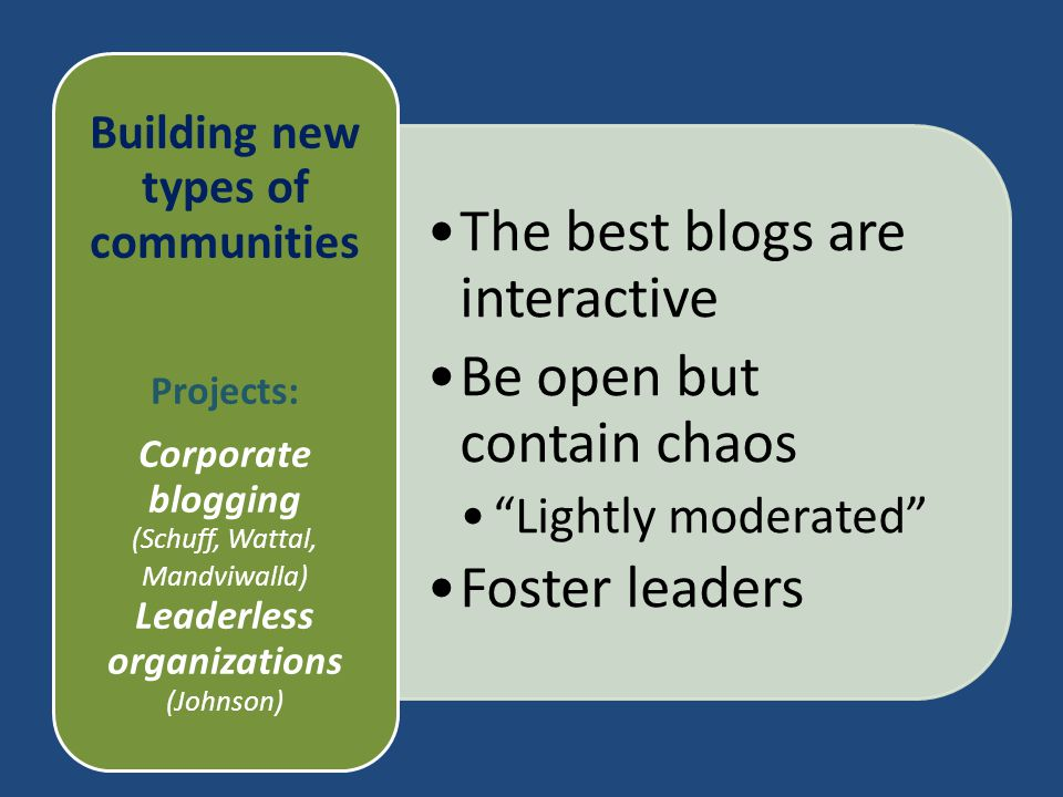 "The best blogs are interactive Be open but contain chaos ""Lightly moderated"" Foster leaders Building new types of communities Projects: Corporate blog"