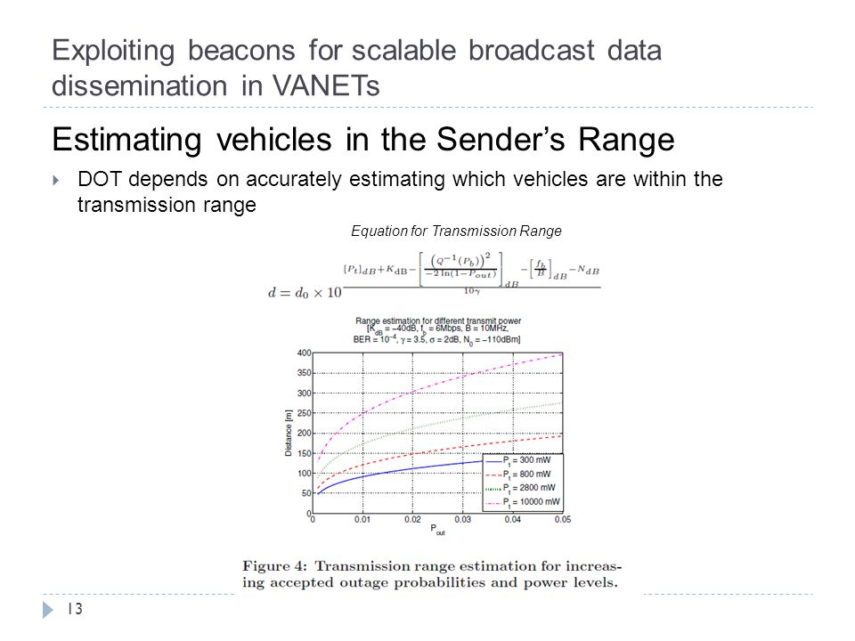 Exploiting beacons for scalable broadcast data dissemination in VANETs 13 Estimating vehicles in the Sender's Range  DOT depends on accurately estimating which vehicles are within the transmission range Equation for Transmission Range