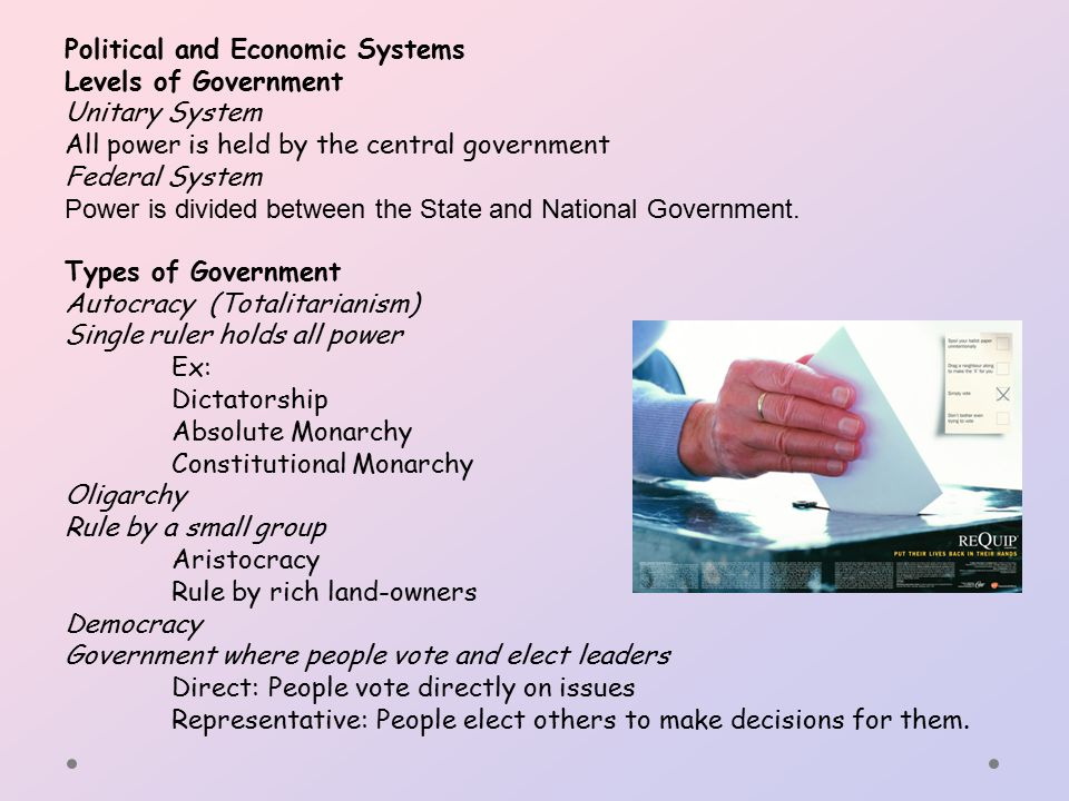 Political and Economic Systems Levels of Government Unitary System All power is held by the central government Federal System Power is divided between