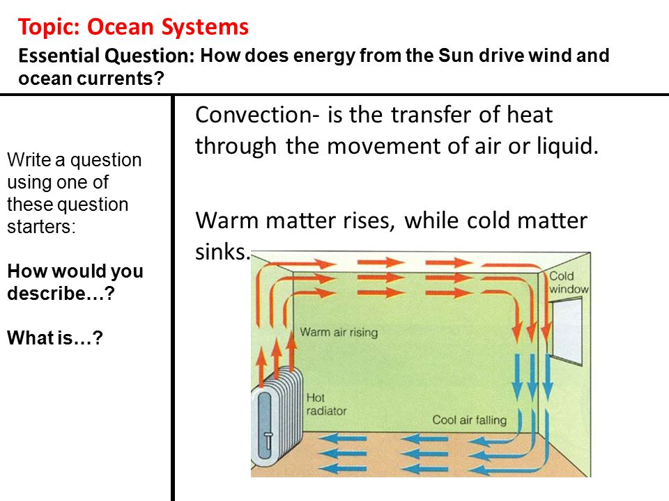 Topic: Ocean Systems Essential Question: How does energy from the Sun drive wind and ocean currents? Convection- is the transfer of heat through the m