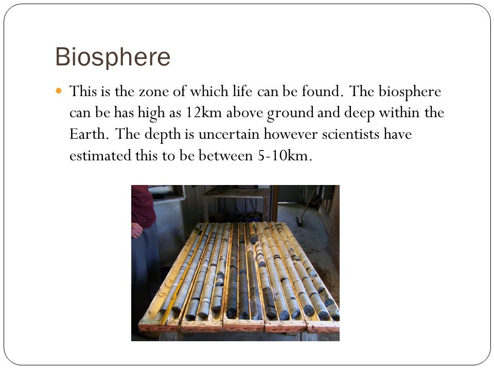 Biosphere This is the zone of which life can be found.